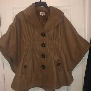 Tan poncho jacket with sinched waist